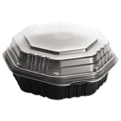 Dart® OctaView HF Containers, Black/Clear, 31oz, 9.55w x 9.13d x 3.01h, 100/Carton