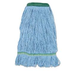 "Boardwalk® Super Loop Wet Mop Head, Cotton/Synthetic Fiber, 1"" Headband, Medium Size, Blue, 12/Carton"
