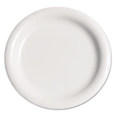 "Dart® Bare Eco-Forward Clay-Coated Paper Plate, 9"", WH, Rnd, Mdmwgt, 125/Pk, 4 PK/CT"