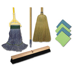 Boardwalk® Cleaning Kit, 1 Mop, 2 Handles,  1 Push Broom, 1 Maids Broom, 4 Microfiber Wipes