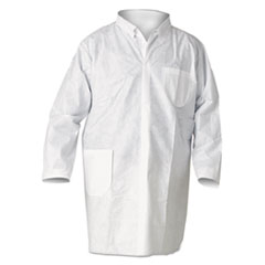 KleenGuard™ A20 Breathable Particle Protection Lab Coat, Snap Closure/Open Wrists/Pockets, Large, White, 25/Carton