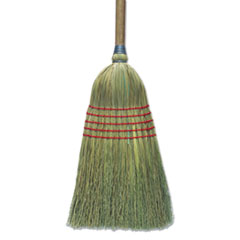 "Boardwalk® Corn Broom, 56"", Lacquered Wood Handle, Natural, 6/Carton"