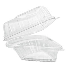 Dart® Showtime Clear Hinged Containers, Pie Wedge, 6 2/3 oz, Plastic, 125/PK, 2 PK/CT