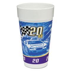 Dart® RPM Stock Print Foam Hot/Cold Cups, 20oz, Purple/Blue/Yellow/Black, 25/BG, 20/CT