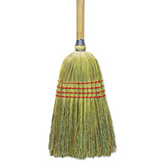 "Boardwalk® Upright Corn/Fiber Broom, 56"", Lacquered Wood Handle, Natural, 6/Carton"