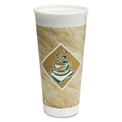 Dart® Café G Foam Hot/Cold Cups, 24 oz, Green/White, 20/Bag, 20 Bags/Carton