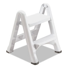 Rubbermaid® EZ Step 2-Step Folding Stool, 19.5 x 20.6 x 22.7, White, 3/Carton