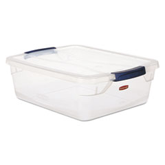 Rubbermaid® Clever Store Snap-Lid Container, 18 3/4 x 23 3/4 x 12 3/8, 71 qt, Clear, 4/CT