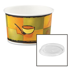 Chinet® Streetside Paper Food Container w/Plastic Lid, Streetside Design, 8-10oz, 250/CT