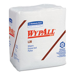 WypAll® L20 Towels, 1/4 Fold, 4-Ply, 12 1/5 x 13, White, 68/Pack, 12/Carton