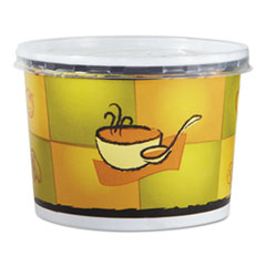 Chinet® Streetside Squat Paper Food Container w/ Lid, Streetside Design, 12oz, 250/CT