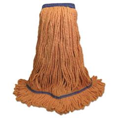 "Boardwalk® Super Loop Wet Mop Head, Cotton/Synthetic Fiber, 5"" Headband, X-Large Size, Orange, 12/Carton"