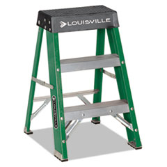 Louisville® #624 Folding Fiberglass Locking 2-Step Stool, 17w x 22 Spread x 24h, Aluminum/Green/Yellow