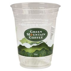 Green Mountain Coffee® Cold Cups, 16-18 oz, Plastic, Clear/Green
