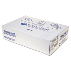 "Inteplast Group Low-Density Commercial Can Liners, 60 gal, 1.15 mil, 38"" x 58"", Clear, 100/Carton"
