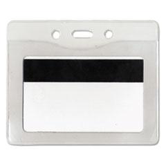 Advantus Security ID Badge Holder, Horizontal, 3 3/8w x 4 1/4h, Clear, 50/Box