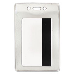 Advantus Security ID Badge Holder, Vertical, 3 3/8w x 4 1/4h, Clear, 50/Box