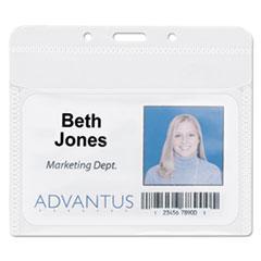 "Advantus PVC-Free Badge Holders, Horizontal, 4"" x 3"", Clear, 50/Pack"