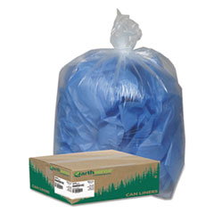 "Earthsense® Commercial Linear Low Density Clear Recycled Can Liners, 60 gal, 1.5 mil, 38"" x 58"", Clear, 100/Carton"