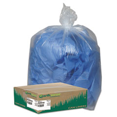 """Linear Low Density Clear Recycled Can Liners, 33 gal, 1.25 mil, 33"""" x 39"""", Clear, 100/Carton"""