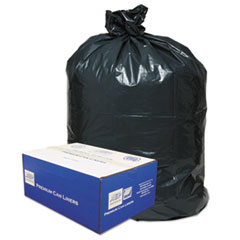 "Classic Linear Low-Density Can Liners, 60 gal, 0.9 mil, 38"" x 58"", Black, 100/Carton"