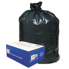"Classic Linear Low-Density Can Liners, 45 gal, 0.63 mil, 40"" x 46"", Black, 250/Carton"
