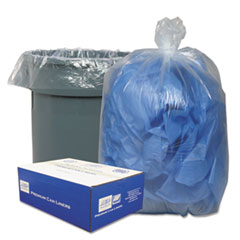 "Classic Clear Linear Low-Density Can Liners, 45 gal, 0.63 mil, 40"" x 46"", Clear, 250/Carton"