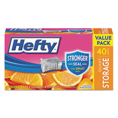 Hefty® Slider Bags, Storage, 1 qt, 1.5 mil, Clear, 40/Box, 9 Boxes per Carton RFPR81240CT