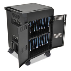 PS Laptop Charging and Management Cart for 20 Devices, 24.6 x 26.5 x 41, Black
