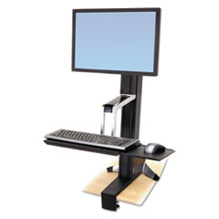 Ergotron® WorkFit-S Sit-Stand Workstation without Worksurface, LCD HD, Aluminum/Black
