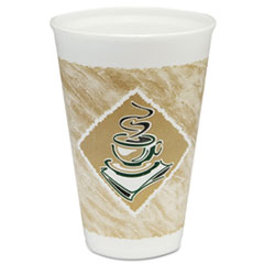 Dart® Café G Foam Hot/Cold Cups, 16oz, White w/Brown & Green, 1000/Carton