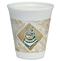 Caf G Foam Hot/Cold Cups, 8oz, White w/Brown & Green, 1000/Carton