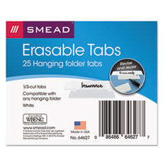 Smead® Erasable Hanging Folder Tabs, 1/3 Tab, 3 1/2 Inch, White, 25/PK