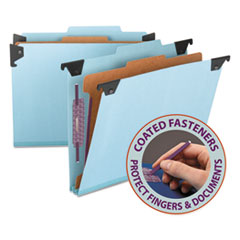 SMD65105 - Four Section Hanging Classification Folder, Pressboard/Kraft, Letter, Blue