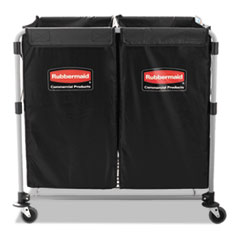 Rubbermaid® Commercial Collapsible X-Cart, Steel, 2 to 4 Bushel Cart, 24.1w x 35.7d x 34h, Black/Silver