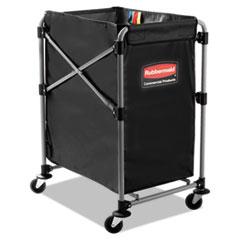Rubbermaid® Commercial Collapsible X-Cart, Steel, Four Bushel Cart, 20.33w x 24.1d x 34h, Black/Silver