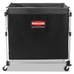 Rubbermaid® Commercial Collapsible X-Cart, Steel, Eight Bushel Cart, 24.1w x 35.7d x 34h, Black/Silver