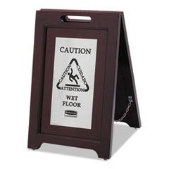 Rubbermaid® Commercial Executive 2-Sided Multi-Lingual Caution Sign, Brown/Stainless Steel,15 x 23 1/2