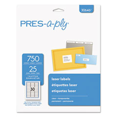 PRES-a-ply™ Laser Address Labels, 1 x 2 5/8, Clear, 750/Pack AVE30646