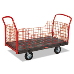 Rubbermaid® Commercial Side Panel Platform Truck, 1200-lb Capacity, 68 1/8 x 30 1/4 x 41 3/8, Black/Red