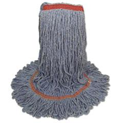 "Boardwalk® Super Loop Wet Mop Head, Cotton/Synthetic Fiber, 1"" Headband, Large Size, Blue, 12/Carton"