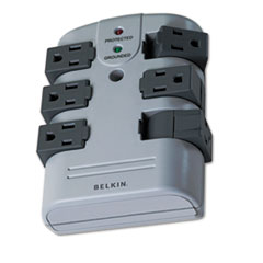 Pivot Plug Surge Protector, 6 Outlets, 1080 Joules, Gray