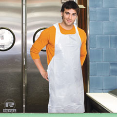 AmerCareRoyal® Poly Apron, White, 28 in. x 46 in., 100/Pack, One Size Fits All, 10 Pack/Carton