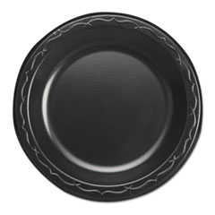 "Genpak® Elite Laminated Foam Dinnerware, Plate, 6"" Dia, Black,125/Pack, 8 Pack/Carton"