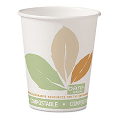 Dart® Bare by Solo Eco-Forward PLA Paper Hot Cups, 10oz, Leaf Design,50/Bag,20 Bags/Ct