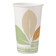 Dart® Bare by Solo Eco-Forward PLA Paper Hot Cups, Leaf Design, 16 oz, 1000/Carton