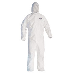 KleenGuard™ A30 Elastic Back and Cuff Hooded Coveralls, 3X-Large, White, 25/Carton
