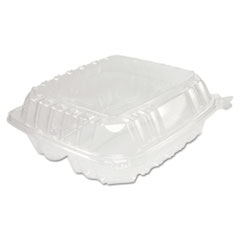 Dart® ClearSeal Hinged-Lid Plastic Containers, 8.25 x 8.25 x 3, Clear, 125/Pack, 2 Packs/Carton