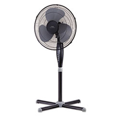 "Lakewood 16"" Three-Speed Oscillating Pedestal Fan, Three Speed, Metal/Plastic, Black"