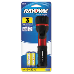 Rayovac® Flashlight, Rubber & Aluminum, 3 V, LED, Red/Black, 2 AA